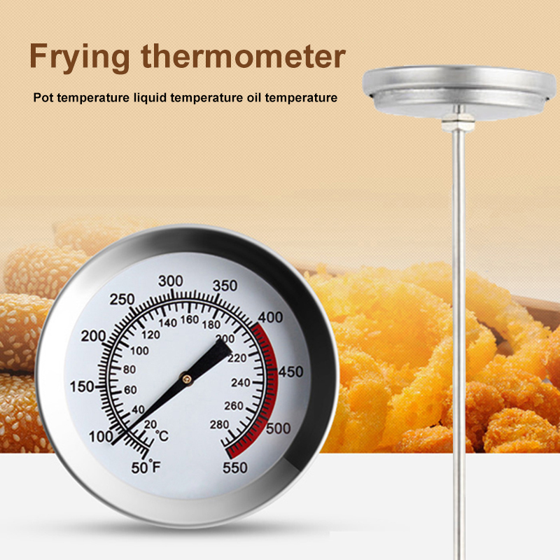 Long Probe Practical Kitchen Tools Stainless Steel Frying Oil Fryer Fries Fried Barbecue Thermometer 20°-280°c 40cm Chicken Wing