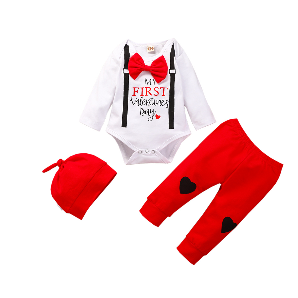 UK Newborn Infant Baby Boy Girl Romper Tops Pants Hat 3PCS//Set Valentine Outfits