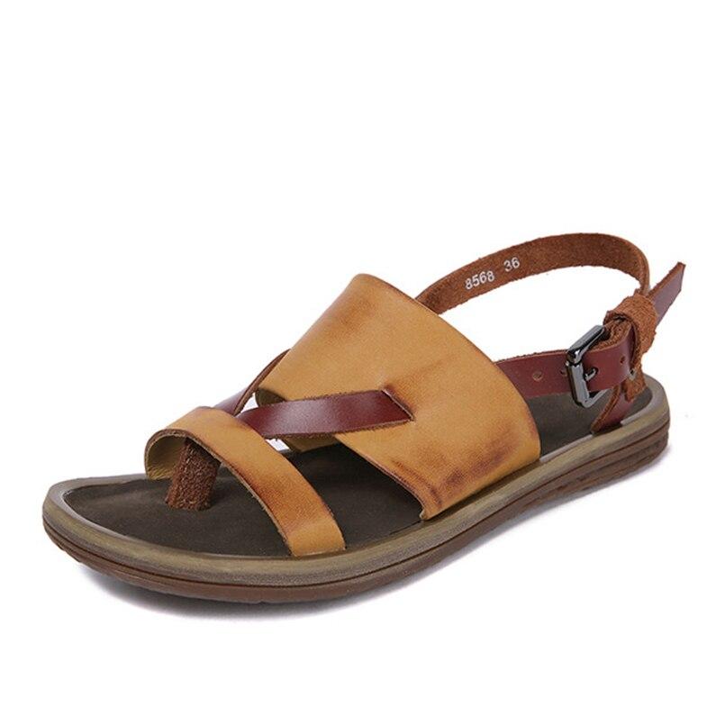 Kobiety sandały kapcie kobiety skórzane buty na co dzień retro płaskie kapcie plażowe letnie sandały damskie pantofle domowe klapki japonki w Niskie obcasy od Buty na AliExpress - 11.11_Double 11Singles' Day 1