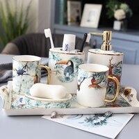 European pastoral light luxury ceramic bathroom wash 5 piece set Household bathroom toothbrush holder set with tray wedding gift