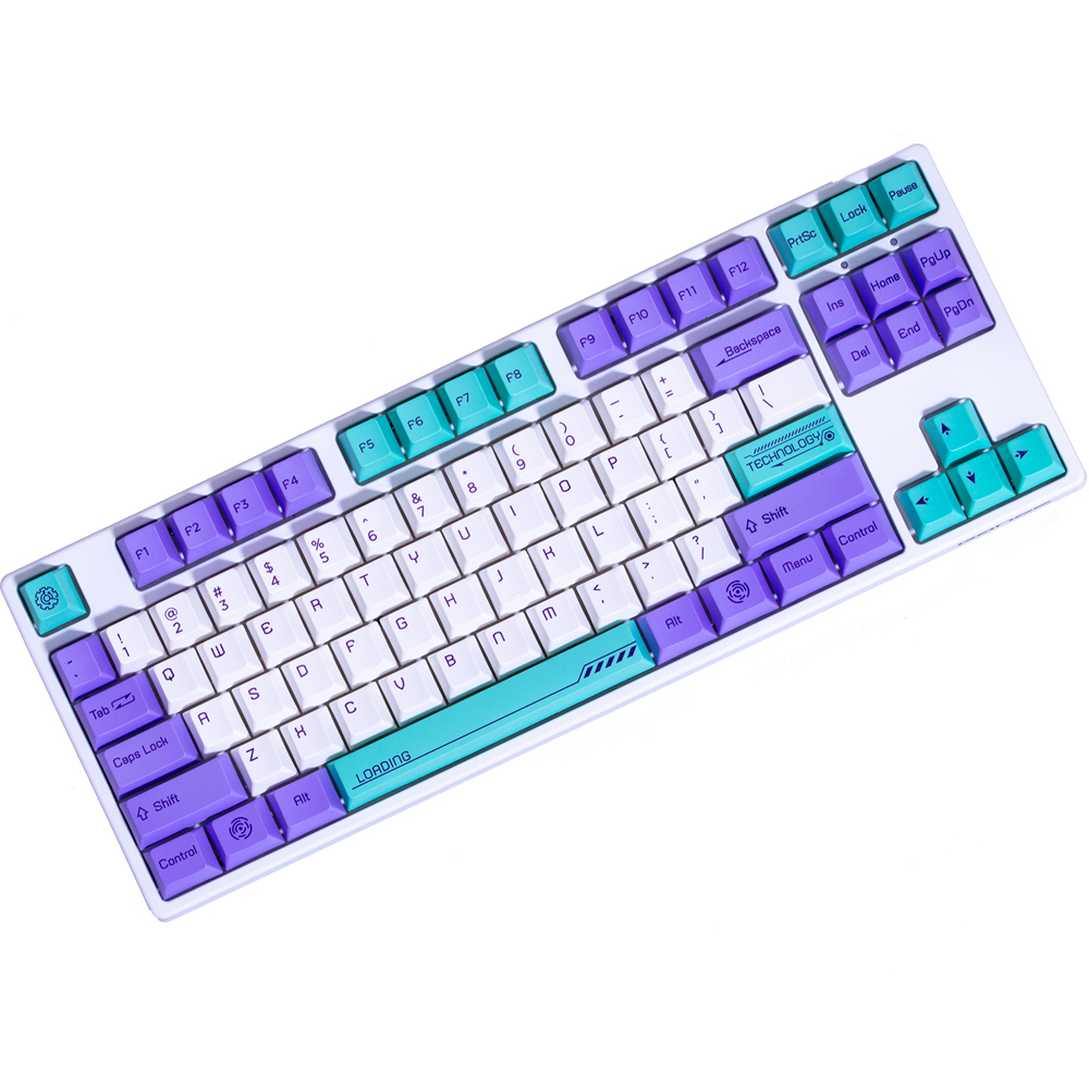 Dye Subbed PBT Keycap White Violet mixed Blue 132 keys Cherry Profile Keycaps For mx Switches <font><b>64</b></font>&84&96&108 <font><b>keyboard</b></font> image
