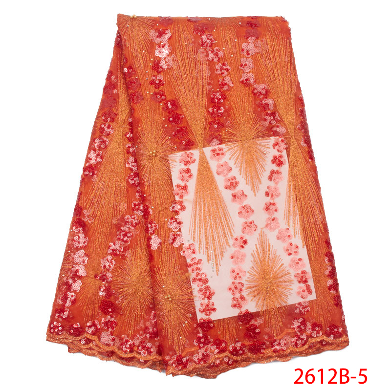 Hot Sale French Tulle Lace Fabric African Net Fabric Lace High Quality Nigerian Laces With Sequins Beads KS2612B-5