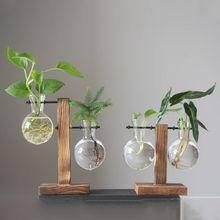 Marco de madera jarrón de vidrio florero de planta hidropónica Vintage maceta bonsái de mesa Flor de escritorio florero hogar Decoración de oficina