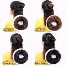 Бразильский пончик-шиньон, хит, для женщин, Remy, человеческие волосы, булочка, пончики, кольцо, коричневый, черный, парик для наращивания волос, 4 цвета, волосы