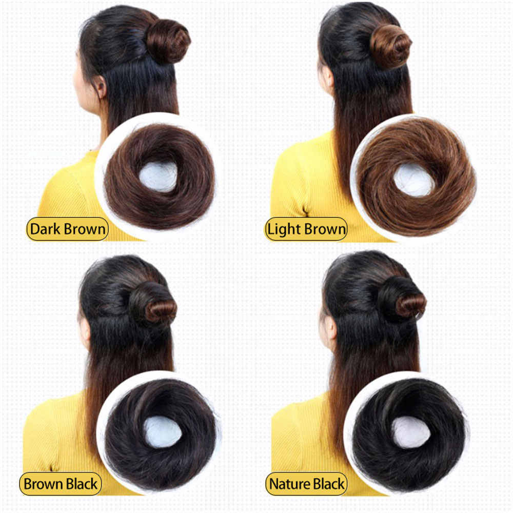 Brazilian Donut Chignon Hot Women Remy Human Hair Bun Donuts Ring Brown Black Hair Extension Wig 4 Colors Hair Pieces