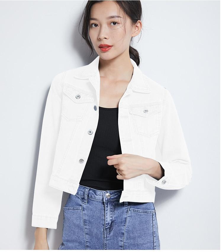 H0131fb0db41f4681a00269134f738e9dB 2019 Fashion Jeans Jacket Women Spring 2XL XL Spring Autumn Hand Brush Long Sleeve Stretch Short Denim Jacket White Pink Coats