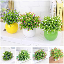 10Pcs Party Plastic Wedding Home Furniture Decor Garden Artificial Plants Fake Milan Grass Foliage Plant Tree 24cm new(China)