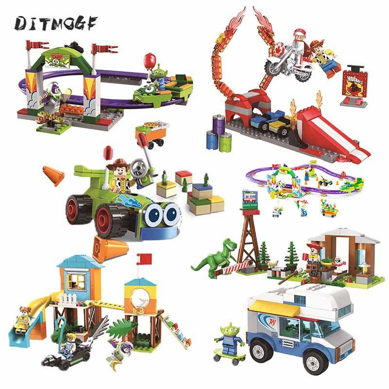 Toy Story 4 Amusement Park Block Set Woody Buzz Lightyear Building Bricks Kids Toys No Box