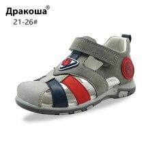 Apakowaเด็กวัยหัดเดินBoysฤดูร้อนแบนปิดนิ้วเท้ารองเท้าแตะเด็กเล็กBreathable Gladiator HookและLoopรองเท้าแตะArchสนับสนุน