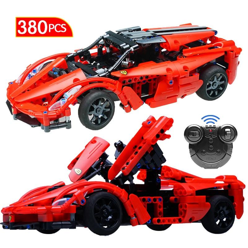 380 pcs rc super racing blocos de construcao do carro tecnica diy modelo velocidade controle remoto