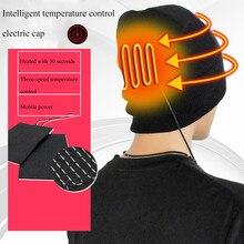Шапка с подогревом USB, Bluetooth, шапка, зимняя, мужская, утепленная, теплая, шапка для спорта на открытом воздухе, охоты, мужская, USB, Рыбацкая шапка, Черная