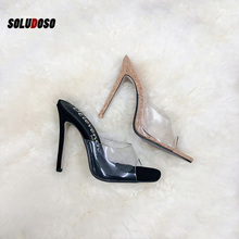 SOLUDOSO 2019 PVC Jelly Sandals Open Toe High Heels Women Transparent Perspex Slippers Shoes Heel Clear size