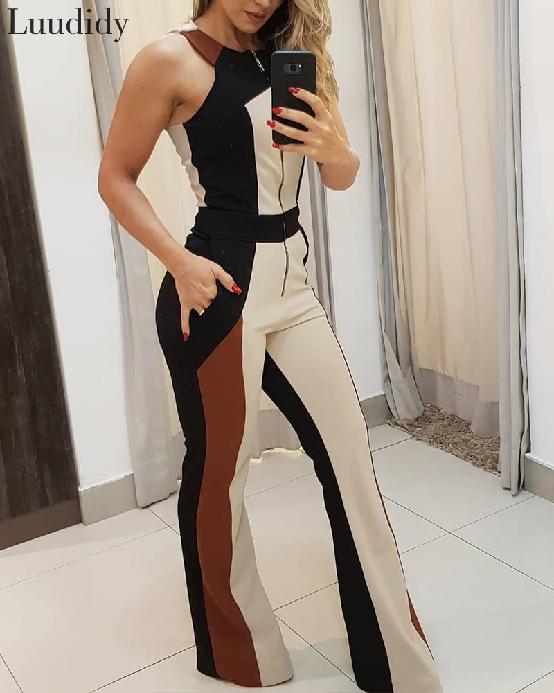 Women Elegant Colorblock Zipper Up Sleeveless Pocket Desgin Jumpsuit