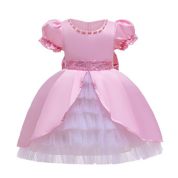D0118 Ribbons Lace Embroidery Princess Baby Girl Dress 2020 New Spring Summer Party Wedding Kid Dress For Girl Wholesale Clothes