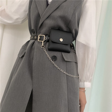 Women Fashion Waist Pack PU Fanny Pack Simple Women's Gift Belt Bag Phone Chain Bags For Lady Casual Pack Female Purse Black