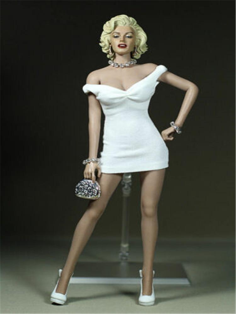 Female Figure Clothes 1/6 Marilyn Monroe White Dress Clothing 12
