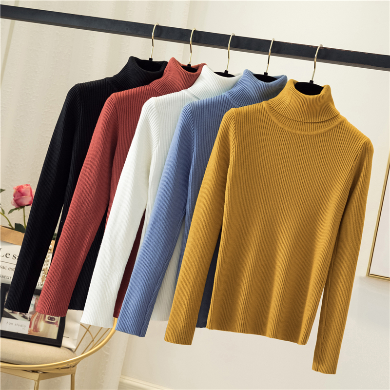 Hot Turtleneck Women Sweater Knitted Pullovers Long Sleeve Winter Clothes Women Solid Fashion Girls Sweaters