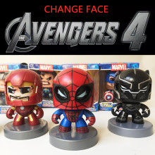 Disney Marvel Toys 11CM Avengers Iron Spider Man hulk Thor Figure Change Face Action Figure Collection Model Toys for Kids Gifts