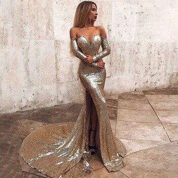 цена на Sevintage Shiny Sequin Mermaid Evening Dress Off the Shoulder Long Sleeves Prom Gowns Split Side Court Train Formal Women Dress