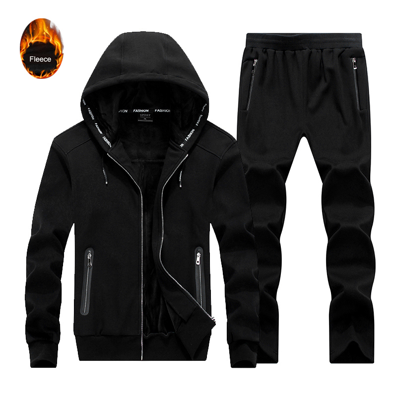 2Pcs Tracksuits Sportswear 2019 Autumn Winter Thicken Fleece Hoodies Trousers Mens Running Set Sweatshirts Male Jacket+Pants