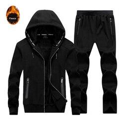 2Pcs Trainingsanzüge Sportswear 2019 Herbst Winter Verdicken Fleece Hoodies Hosen Herren Running Set Sweatshirts Männlichen Jacke + Hosen