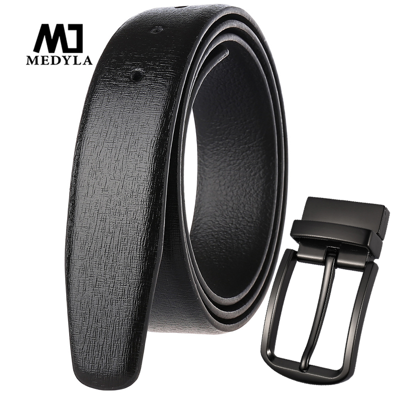 MEDYLA Italian Leather Belt Men's Fashion Luxury Soft Leather Men Business Belt Without Buckle Hard Metal 360 ° Rotating Buckle