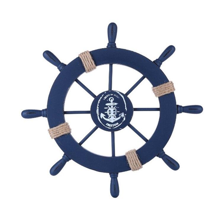 Mediterranean Ship Rudder Decoration Nautical Boat Wheel Helm  Wooden Craft Home Decoration Accessories