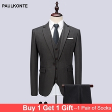 PAULKONTE 2019 Mens New Three Piece Suits High End Luxury Business Interview Clothing Man Gentleman Slimclassic MenS Suit