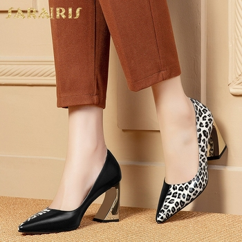 Sarairis 2020 New Design Hot Cow Leather Mix Color Strange Style Shoes Woman Pumps Pointed Toe Slip-On Office Pumps Women Shoes