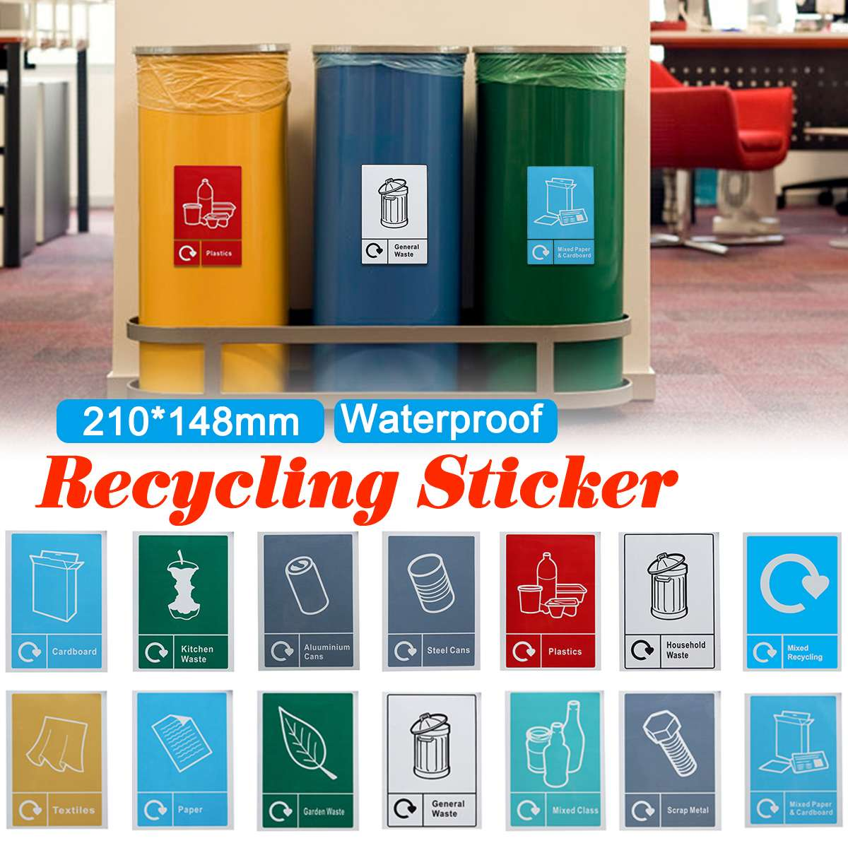 Trash Bin Stickers Classification Sign Recycle Bin Recycling Sticker Waste Signage Sign Waterproof General Waste Logo Garbage