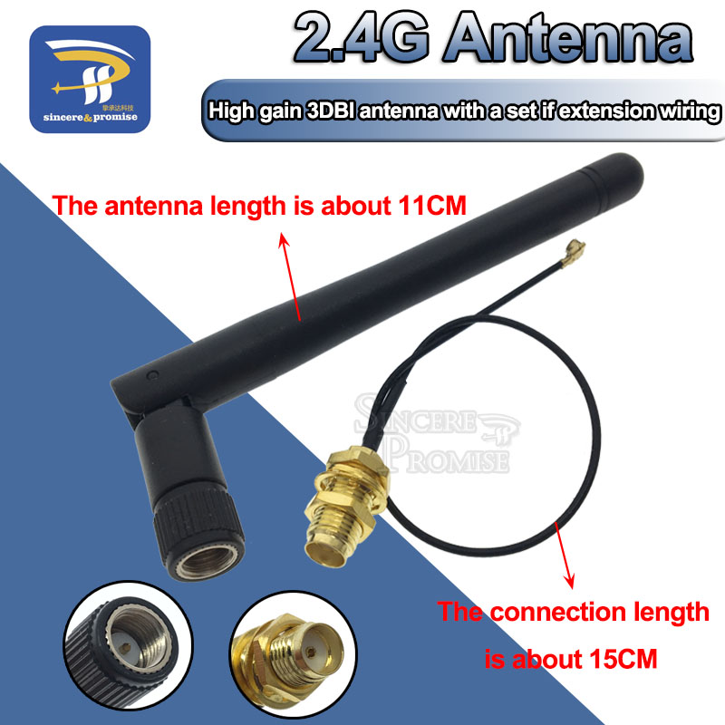 2.4GHz 3dBi WiFi 2.4g Antenna Aerial RP-SMA Male wireless router+ 17cm PCI U.FL IPX to RP SMA Male Pigtail Cable ESP8266 ESP32(China)