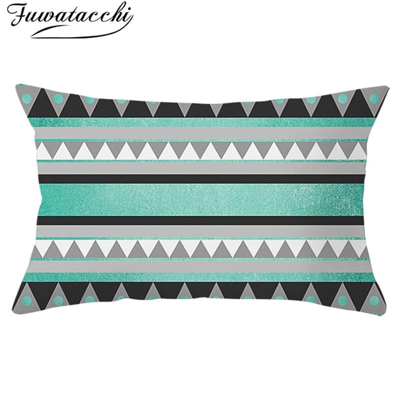 Fuwatacchi Geométrica Capa de Almofada de Poliéster Padrão de Onda Fronha Throw Pillow Covers Decorativa para Casa Retângulo 30*50cm