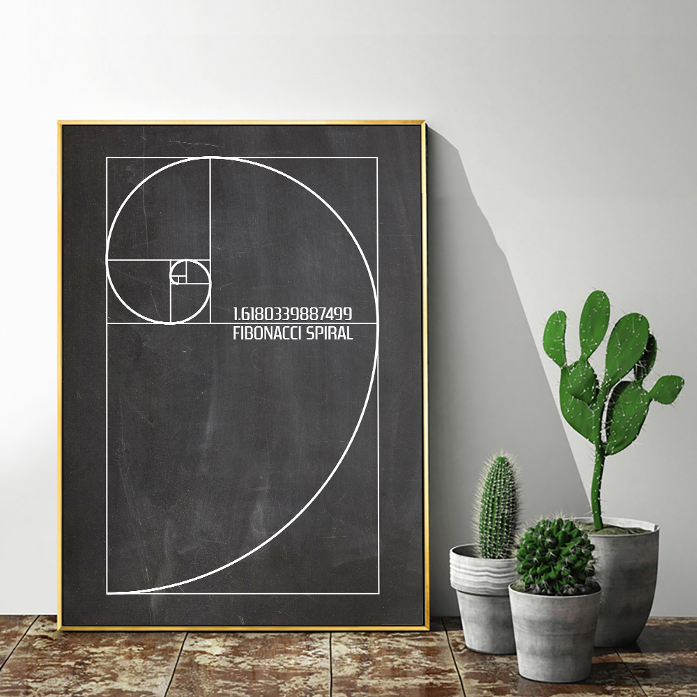 <font><b>Fibonacci</b></font> <font><b>Spiral</b></font> Patent Poster Golden Ratio Wall Art Print Vintage Canvas Painting Blueprint Wall Pictures Science Decoration image