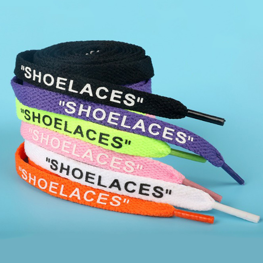 New 120CM Flat Laces Handmade Printing SHOELACES Letters Black White Orange Shoelaces Sneakers Bootlaces DIY Casual Sports