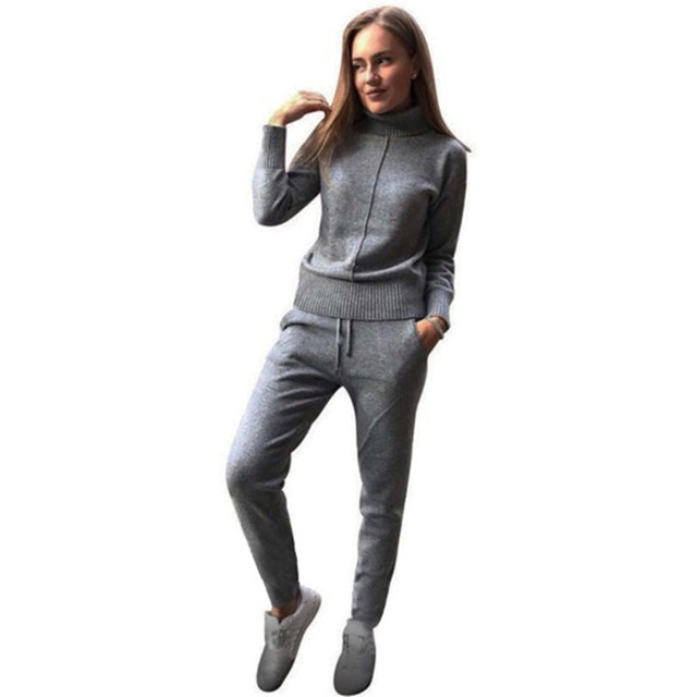 MVGIRLRU Womens wool Knitted suit soft warm Winter knitting trackSuit pullover sweater & pant 2 piece suit