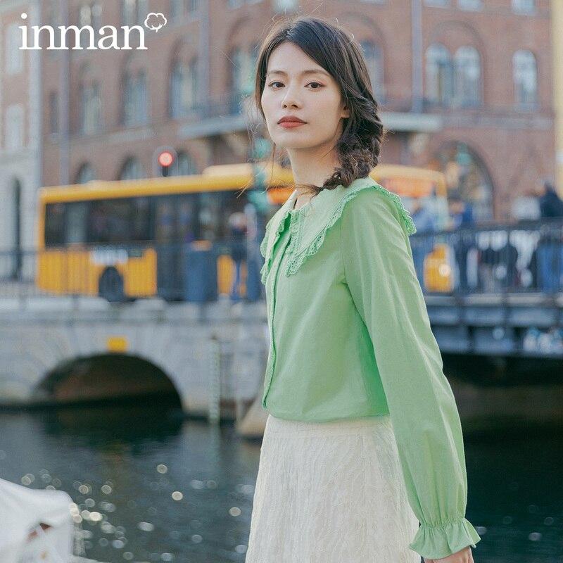 INMAN, весна 2020, Новое поступление, милая блузка из чистого хлопка с кукольным воротником и кружевными расклешенными рукавами