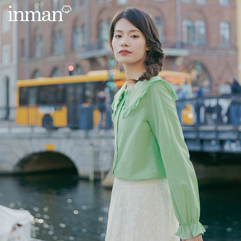 INMAN 2020 Spring New Arrival Pure Cotton Sweet Doll Collar Splicing Lace Flare Sleeve Temperament Blouse