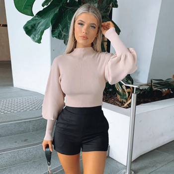 Fashion Casual Turtleneck Sweater Women Winter Knitting Pullovers Lantern Long Sleeve Solid Color Women Sweater [eam] pelated split big size knitting sweater loose fit turtleneck long sleeve women pullovers new fashion spring 2020 1m877