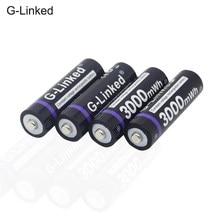 Bateria recarregável do lítio 1.5 v aa da bateria 3000mwh do li-íon aa para relógios, ratos, computadores, brinquedos