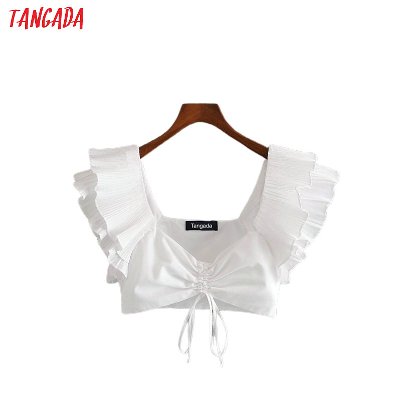 Tangada Women White Ruffles Bra Tops Sexy Tanks Strappy Backless Camisole Short Tops 2020 Summer Camis 3H453