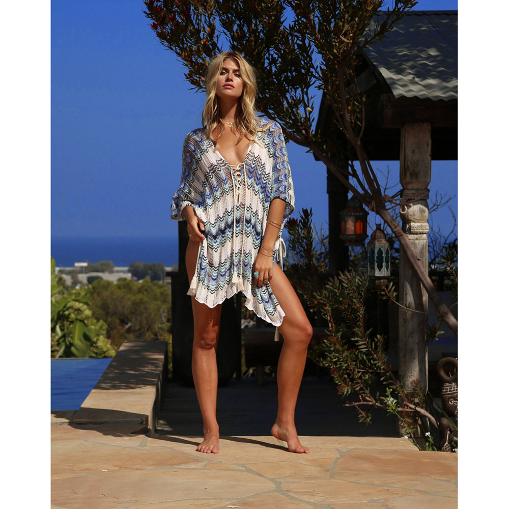 Sexy Beach Tunic Deep V Mesh Mini Dresses Knitted Cover Up 5