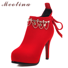 цены Meotina Autumn Ankle Boots Women Zipper Stiletto Heels Short Boots Bow Extreme High Heel Shoes Ladies Winter Red Plus Size 33-43