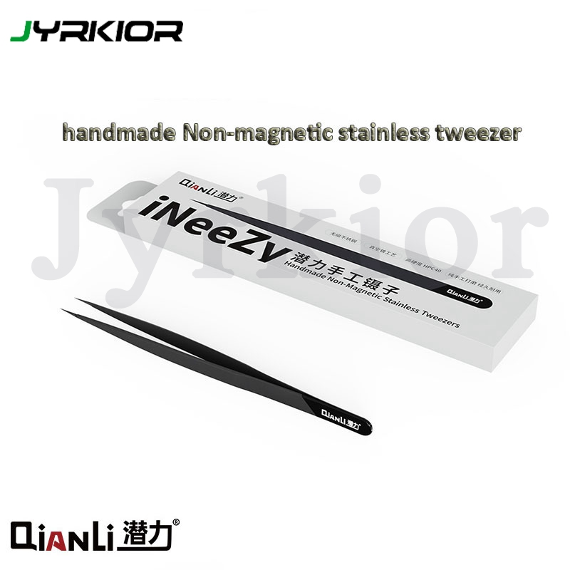 Qianli INeeZY Handmade Polished Non-magnetic Stainless Tweezer High Hardness Vacuum Plating Process Jump Line Tweezer