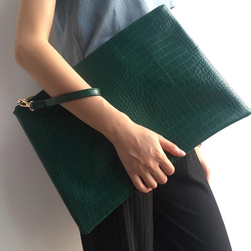 Large Large Women Crocodile Green File Folder A4 Document Bag Fashion Women Laptop Bag Pouch Business Briefcase Bag