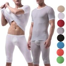 Pants Short-Sleeve Sleep-Bottoms T-Shirt Underwear Pajamas Penis-Pouch Homme Men Slim-Fit