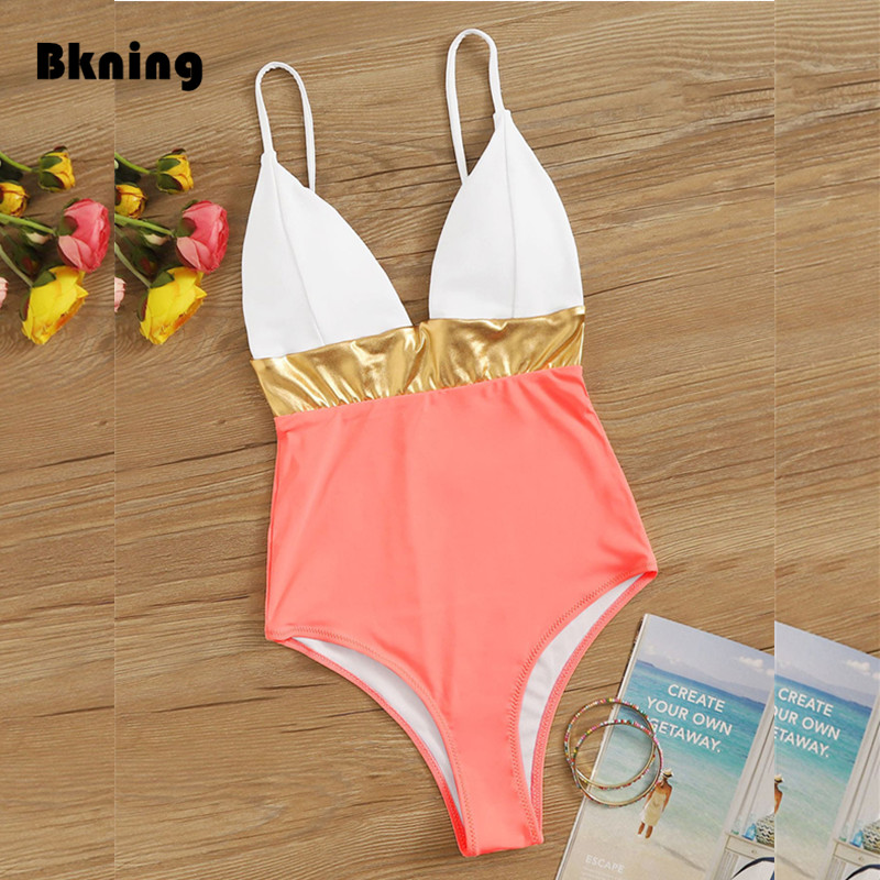 Patchwork Swimsuit Gold V-neck Swimwear 2020 Woman One-piece Suits Pink Strapless Swim Trikini Summer Beach Bodysuit White Top