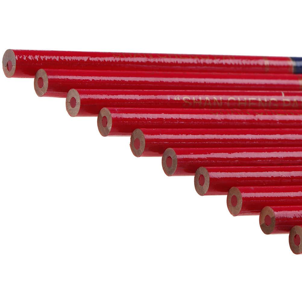 10X crayons de charpentier plomb bleu et rouge pour bricolage constructeurs menuisiers travail du bois épais marque ronde crayon pour les mains outils