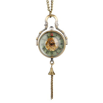 Classic Hollow-out Delicate Transparent Glass Ball Hand-winding Pocket Watch Alloy Slim Chain Pendant Watch for Men Women punk style alloy hollow out body chain for women