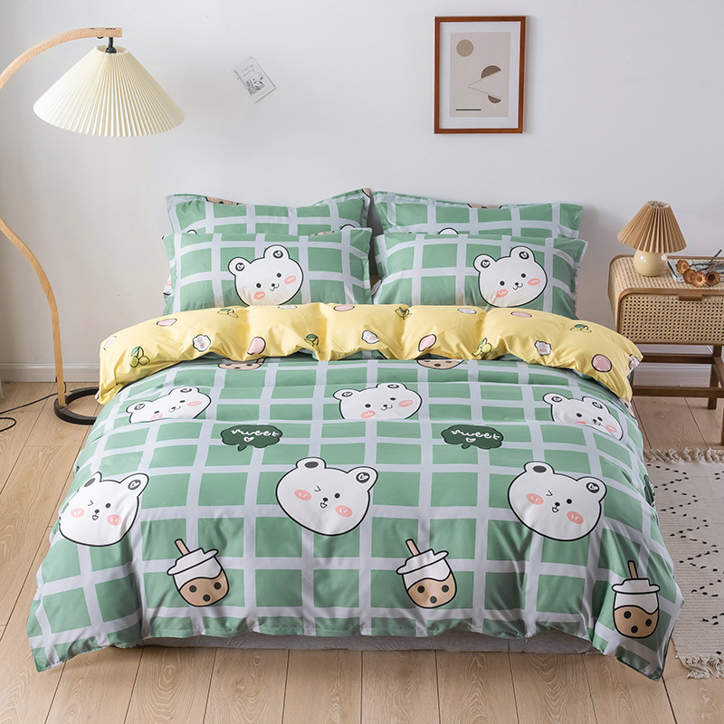 Red Verde ropa de cama de 135 × 200 colcha para niños cubierta Oso de dibujos animados funda de edredón funda de almohada 3 uds 220 × 240 cubierta de manta de tamaño 2020