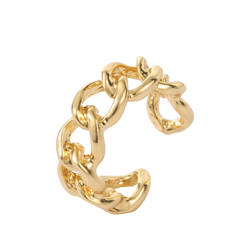 Gold Color Plating Chain Shape RING 7mm Wide For Unisex Vintage Gothic Chunky Midi Ring Antique Jewelry Accessory